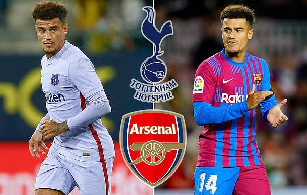 Arsenal are set to battle rivals Spurs on loan for Barcelona midfielder Philippe Coutinho in January.